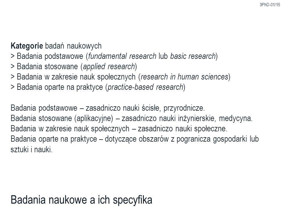 3PhD-01/15 Badania naukowe a ich specyfika Kategorie badań naukowych > Badania podstawowe ( fundamental research lub basic research ) > Badania stosow