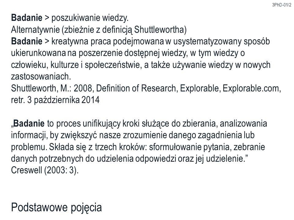 3PhD-01/2 Podstawowe pojęcia Badanie > poszukiwanie wiedzy. Alternatywnie (zbieżnie z definicją Shuttlewortha) Badanie > kreatywna praca podejmowana w
