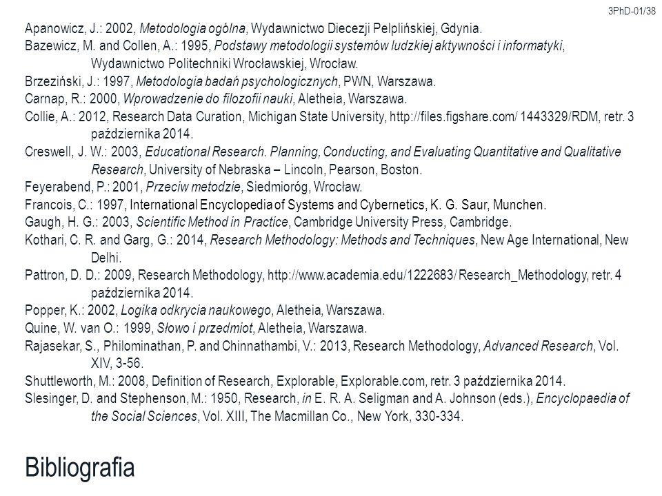 3PhD-01/38 Bibliografia Apanowicz, J.: 2002, Metodologia ogólna, Wydawnictwo Diecezji Pelplińskiej, Gdynia. Bazewicz, M. and Collen, A.: 1995, Podstaw