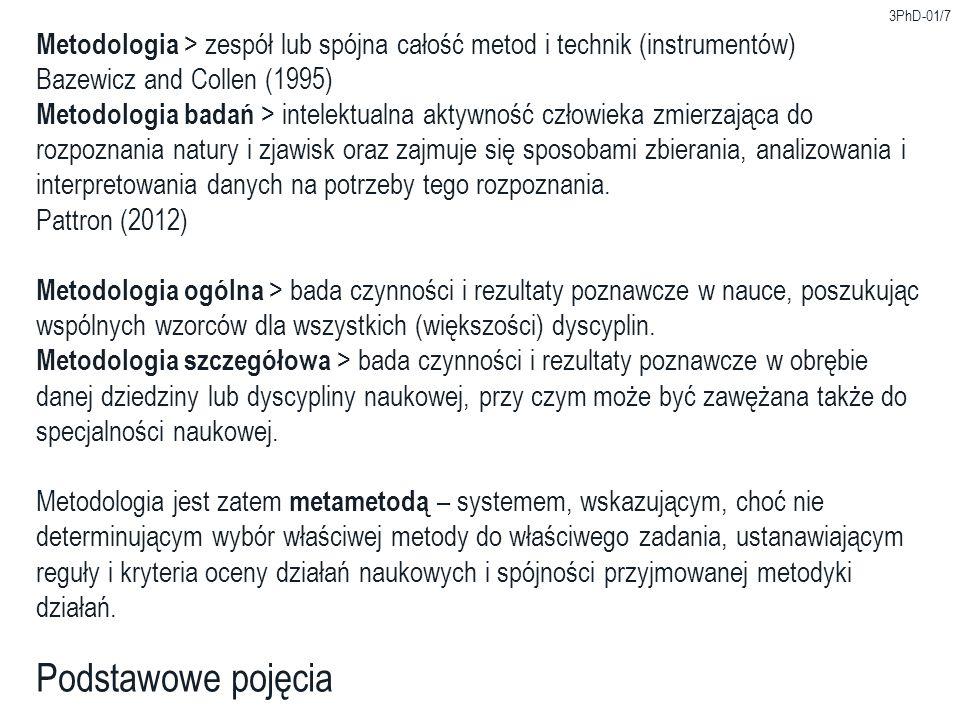 3PhD-01/7 Podstawowe pojęcia Metodologia > zespół lub spójna całość metod i technik (instrumentów) Bazewicz and Collen (1995) Metodologia badań > inte