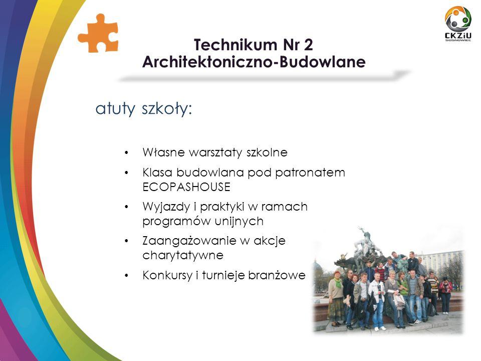 Technikum Nr 2 Architektoniczno-Budowlane atuty szkoły: Własne warsztaty szkolne Klasa budowlana pod patronatem ECOPASHOUSE Wyjazdy i praktyki w ramac
