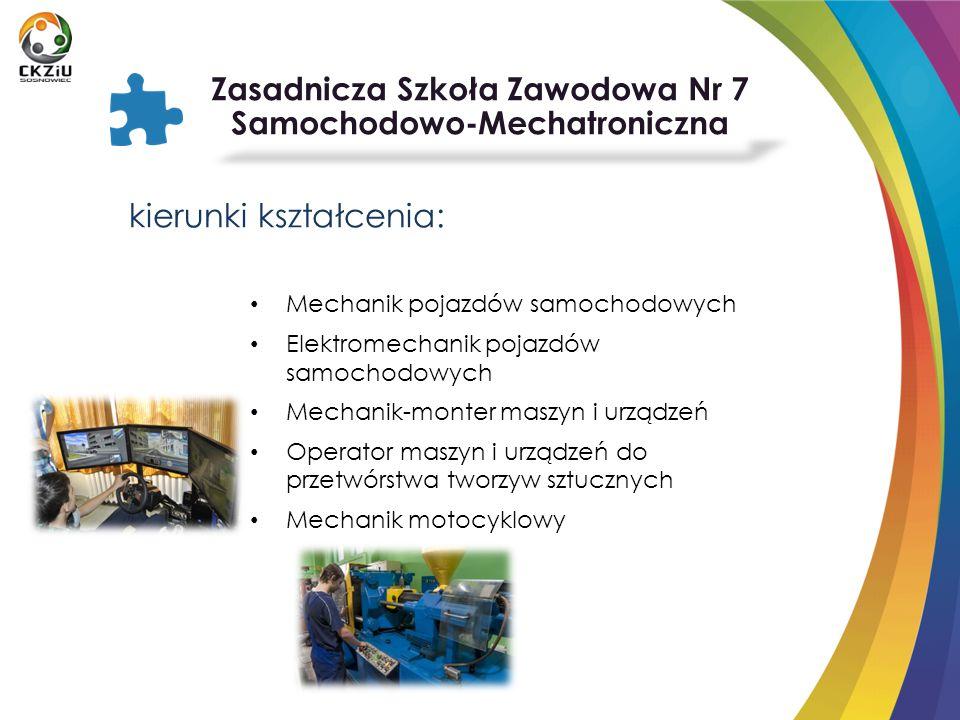 kierunki kształcenia: Mechanik pojazdów samochodowych Elektromechanik pojazdów samochodowych Mechanik-monter maszyn i urządzeń Operator maszyn i urząd