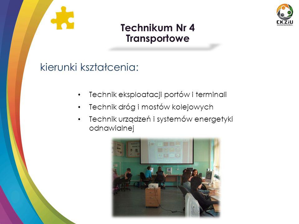 Technikum Nr 4 Transportowe kierunki kształcenia: Technik eksploatacji portów i terminali Technik dróg i mostów kolejowych Technik urządzeń i systemów
