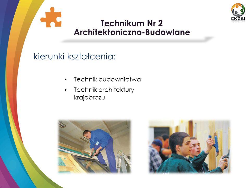 Technikum Nr 2 Architektoniczno-Budowlane atuty szkoły: Własne warsztaty szkolne Klasa budowlana pod patronatem ECOPASHOUSE Wyjazdy i praktyki w ramach programów unijnych Zaangażowanie w akcje charytatywne Konkursy i turnieje branżowe