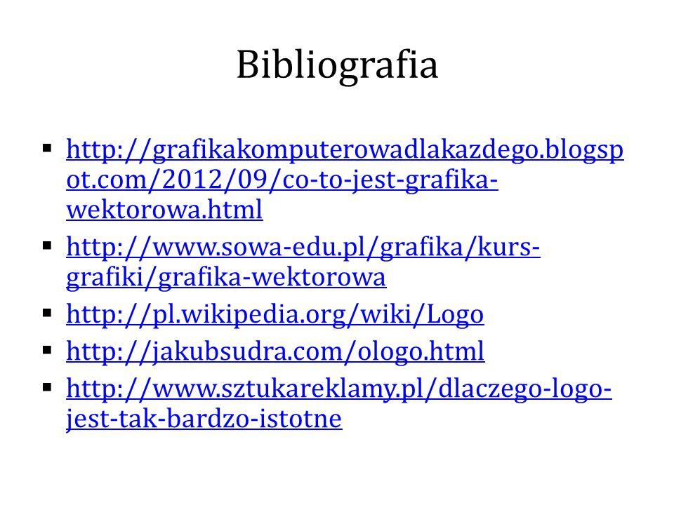 Bibliografia  http://grafikakomputerowadlakazdego.blogsp ot.com/2012/09/co-to-jest-grafika- wektorowa.html http://grafikakomputerowadlakazdego.blogsp ot.com/2012/09/co-to-jest-grafika- wektorowa.html  http://www.sowa-edu.pl/grafika/kurs- grafiki/grafika-wektorowa http://www.sowa-edu.pl/grafika/kurs- grafiki/grafika-wektorowa  http://pl.wikipedia.org/wiki/Logo http://pl.wikipedia.org/wiki/Logo  http://jakubsudra.com/ologo.html http://jakubsudra.com/ologo.html  http://www.sztukareklamy.pl/dlaczego-logo- jest-tak-bardzo-istotne http://www.sztukareklamy.pl/dlaczego-logo- jest-tak-bardzo-istotne