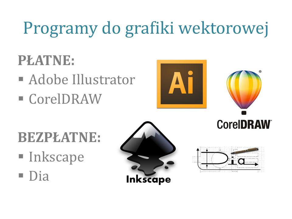 Programy do grafiki wektorowej PŁATNE:  Adobe Illustrator  CorelDRAW BEZPŁATNE:  Inkscape  Dia