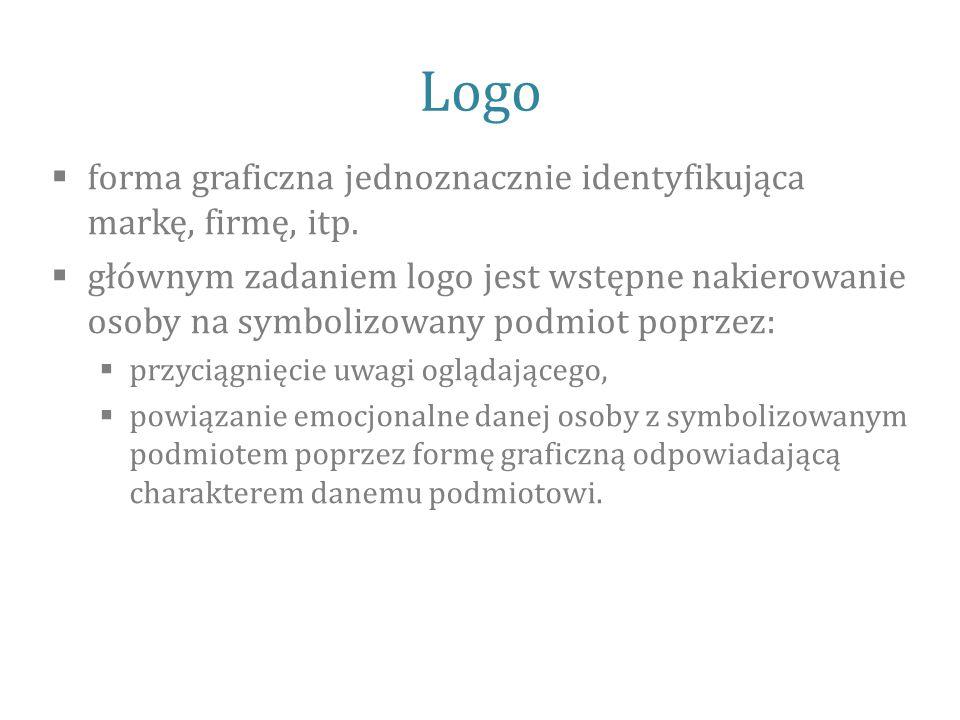 Logo  forma graficzna jednoznacznie identyfikująca markę, firmę, itp.