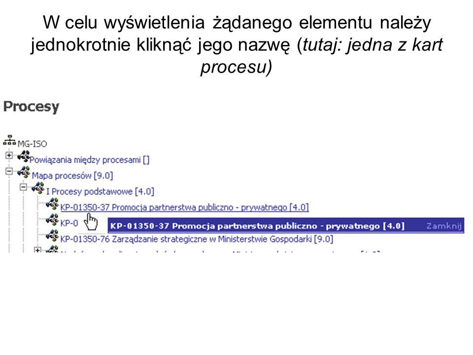 W celu wyświetlenia żądanego elementu należy jednokrotnie kliknąć jego nazwę (tutaj: jedna z kart procesu)