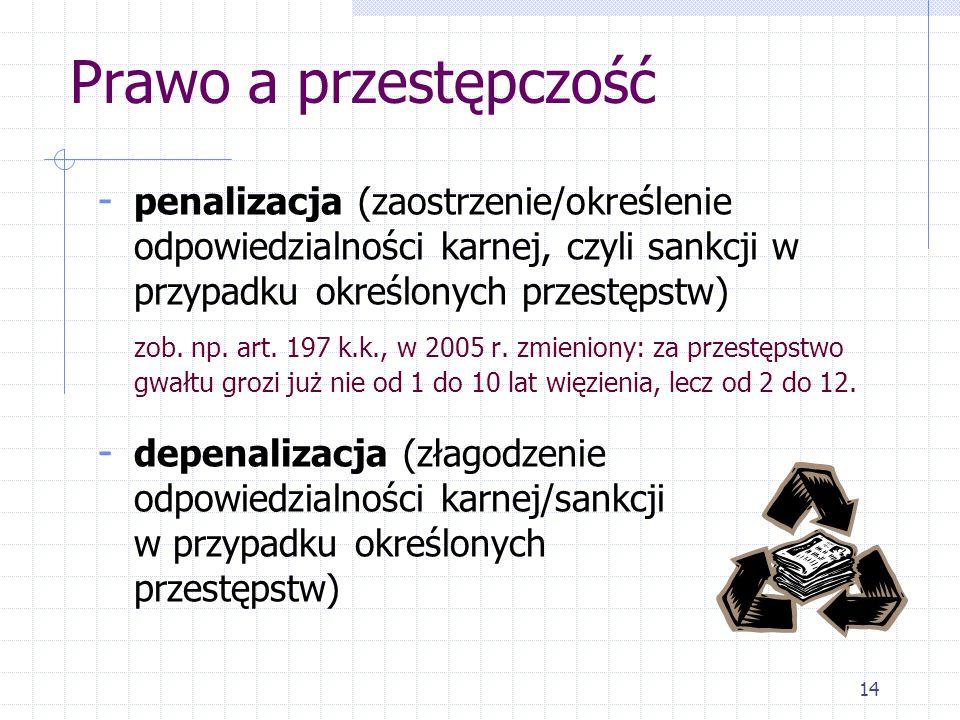 14 Prawo a przestępczość - penalizacja (zaostrzenie/określenie odpowiedzialności karnej, czyli sankcji w przypadku określonych przestępstw) zob.