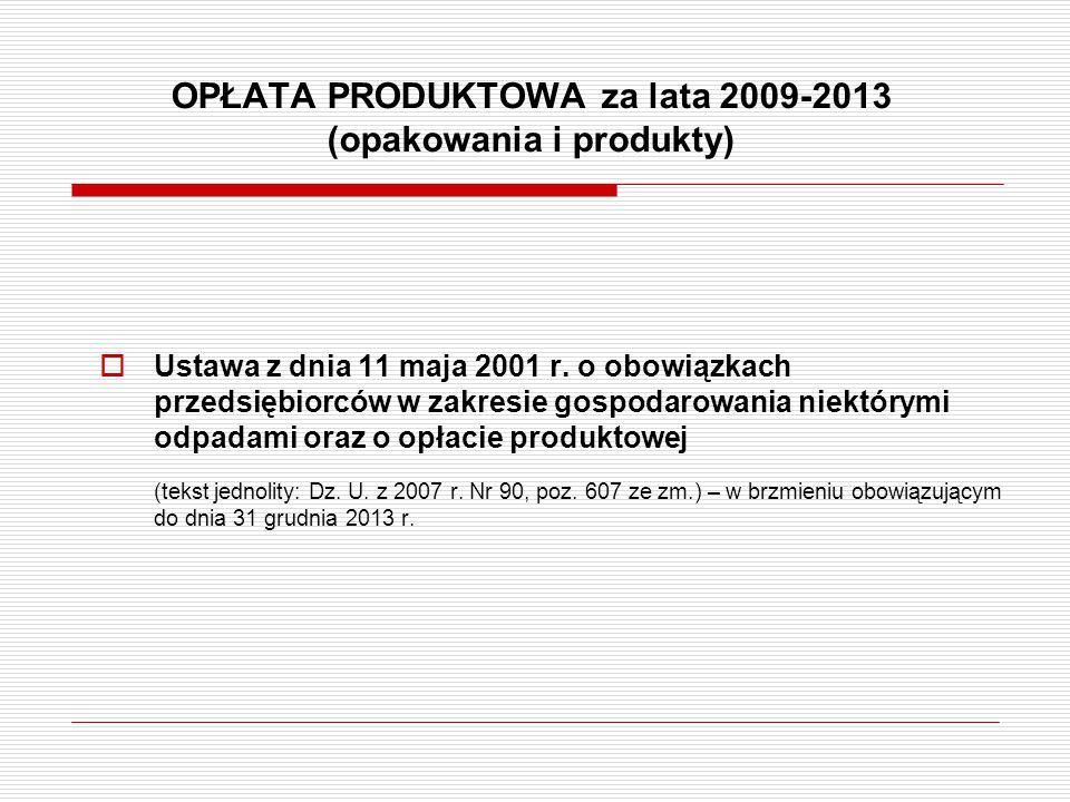OPŁATA PRODUKTOWA za lata 2009-2013 (opakowania i produkty)  Ustawa z dnia 11 maja 2001 r. o obowiązkach przedsiębiorców w zakresie gospodarowania ni