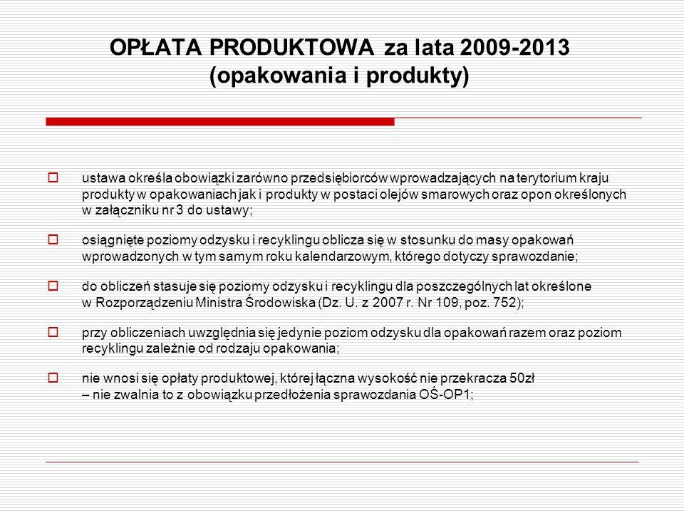 OPŁATA PRODUKTOWA za lata 2009-2013 (opakowania i produkty)  ustawa określa obowiązki zarówno przedsiębiorców wprowadzających na terytorium kraju pro