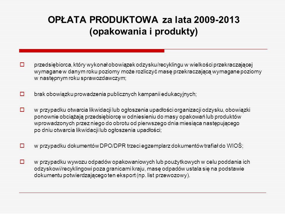 OPŁATA PRODUKTOWA za lata 2009-2013 (opakowania i produkty)  przedsiębiorca, który wykonał obowiązek odzysku/recyklingu w wielkości przekraczającej w