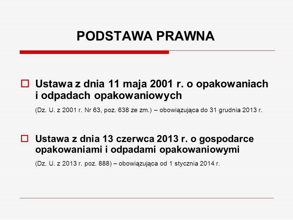 PODSTAWA PRAWNA  Ustawa z dnia 11 maja 2001 r. o opakowaniach i odpadach opakowaniowych (Dz. U. z 2001 r. Nr 63, poz. 638 ze zm.) – obowiązująca do 3