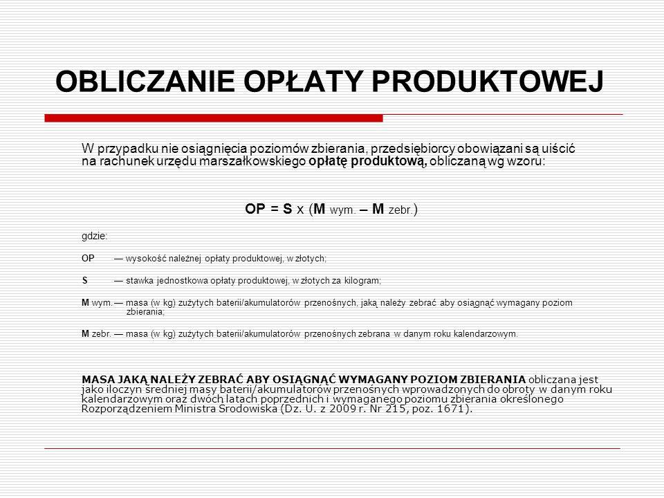 OBLICZANIE OPŁATY PRODUKTOWEJ W przypadku nie osiągnięcia poziomów zbierania, przedsiębiorcy obowiązani są uiścić na rachunek urzędu marszałkowskiego