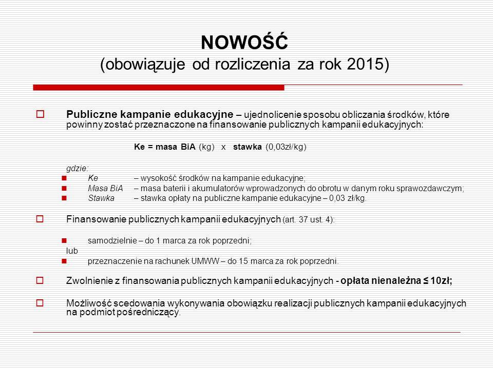 NOWOŚĆ (obowiązuje od rozliczenia za rok 2015)  Publiczne kampanie edukacyjne – ujednolicenie sposobu obliczania środków, które powinny zostać przezn