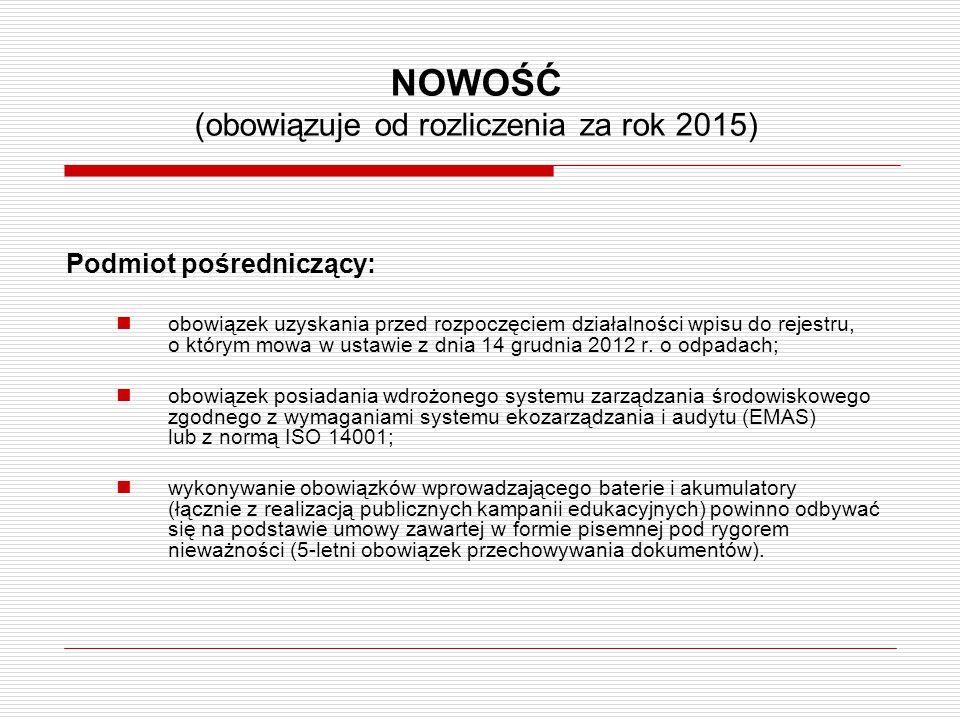 NOWOŚĆ (obowiązuje od rozliczenia za rok 2015) Podmiot pośredniczący: obowiązek uzyskania przed rozpoczęciem działalności wpisu do rejestru, o którym