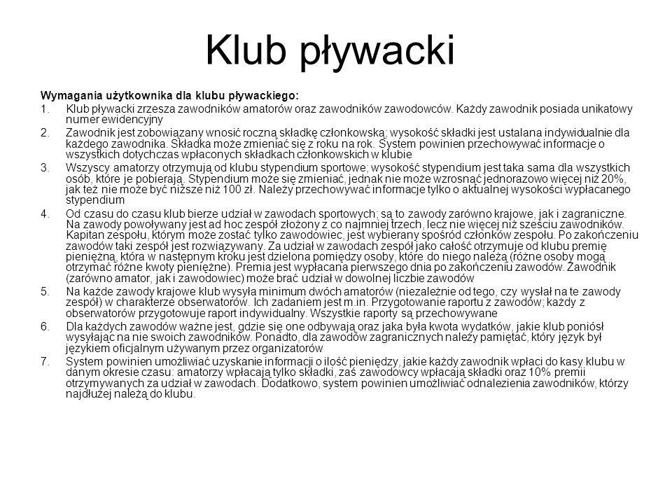 Klub pływacki Wymagania użytkownika dla klubu pływackiego: 1.Klub pływacki zrzesza zawodników amatorów oraz zawodników zawodowców. Każdy zawodnik posi