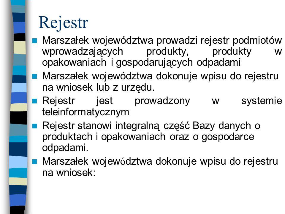 Rejestr Marszałek województwa prowadzi rejestr podmiotów wprowadzających produkty, produkty w opakowaniach i gospodarujących odpadami Marszałek wojewó