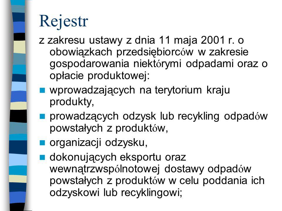 Rejestr z zakresu ustawy z dnia 11 maja 2001 r. o obowiązkach przedsiębiorc ó w w zakresie gospodarowania niekt ó rymi odpadami oraz o opłacie produkt