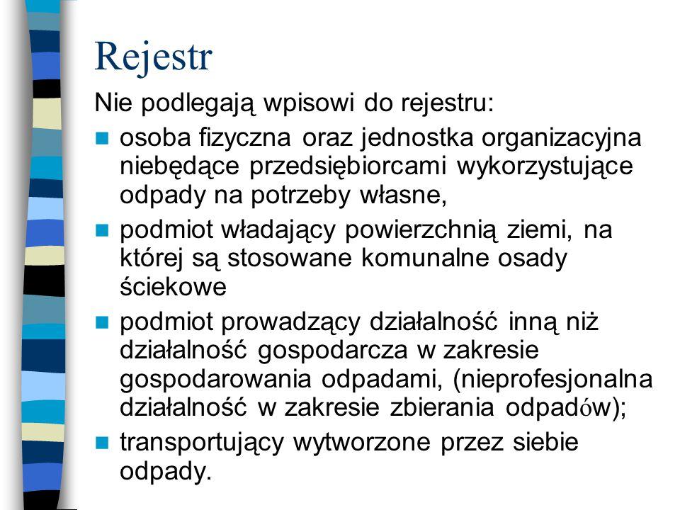 Rejestr Nie podlegają wpisowi do rejestru: osoba fizyczna oraz jednostka organizacyjna niebędące przedsiębiorcami wykorzystujące odpady na potrzeby wł