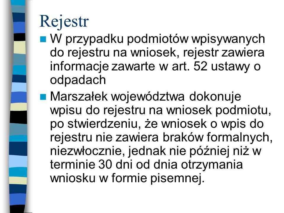 Rejestr W przypadku podmiotów wpisywanych do rejestru na wniosek, rejestr zawiera informacje zawarte w art. 52 ustawy o odpadach Marszałek województwa