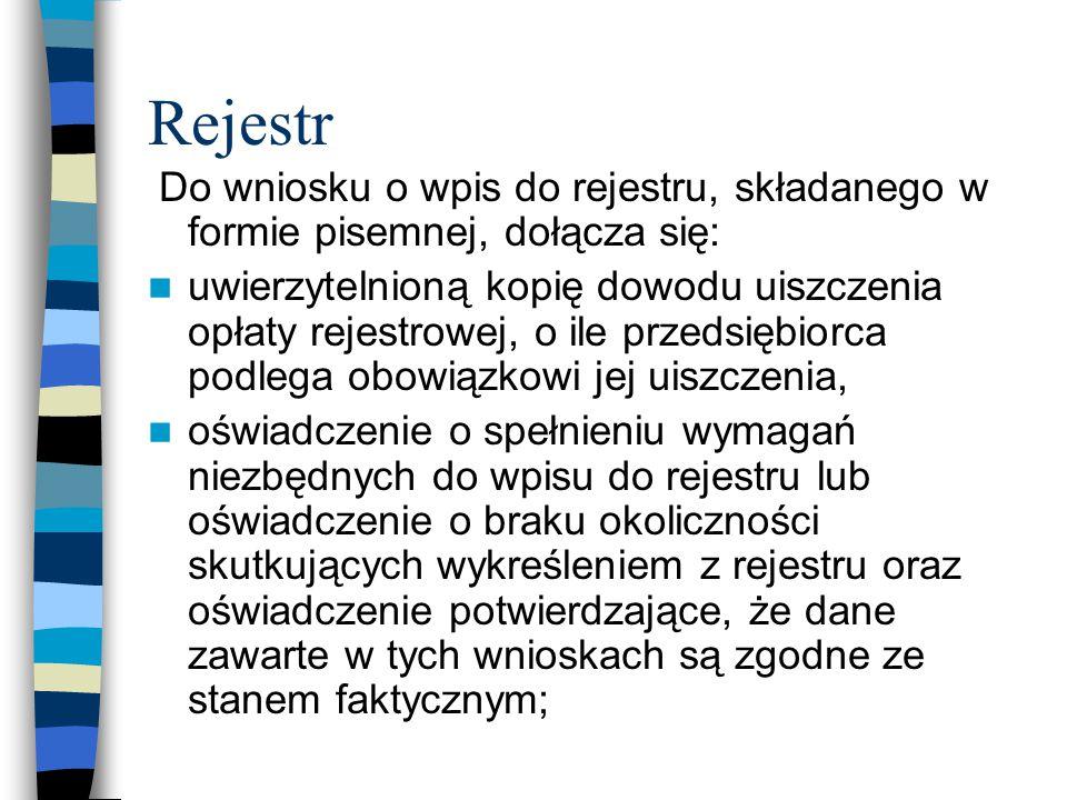 Rejestr Do wniosku o wpis do rejestru, składanego w formie pisemnej, dołącza się: uwierzytelnioną kopię dowodu uiszczenia opłaty rejestrowej, o ile pr