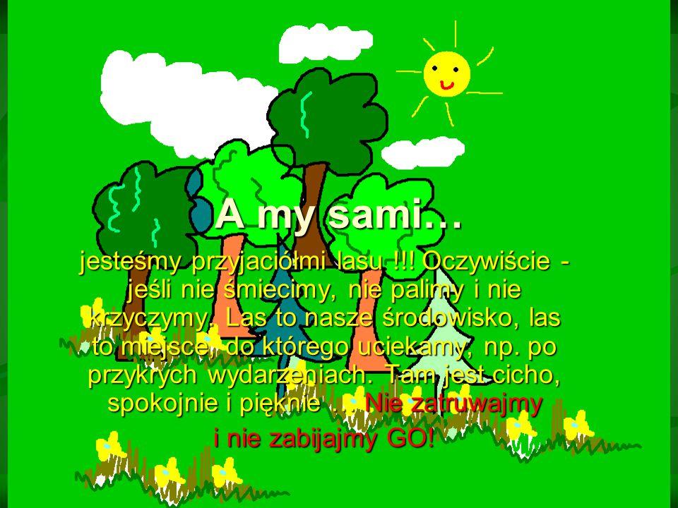 jesteśmy przyjaciółmi lasu !!! Oczywiście - jeśli nie śmiecimy, nie palimy i nie krzyczymy. Las to nasze środowisko, las to miejsce, do którego ucieka