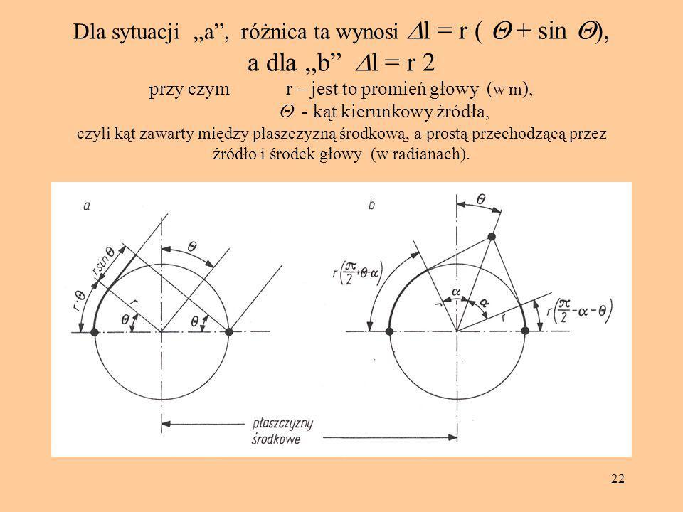 """22 Dla sytuacji """"a"""", różnica ta wynosi  l = r (  + sin  ), a dla """"b""""  l = r 2 przy czym r – jest to promień głowy ( w m ),  - kąt kierunkowy źr"""