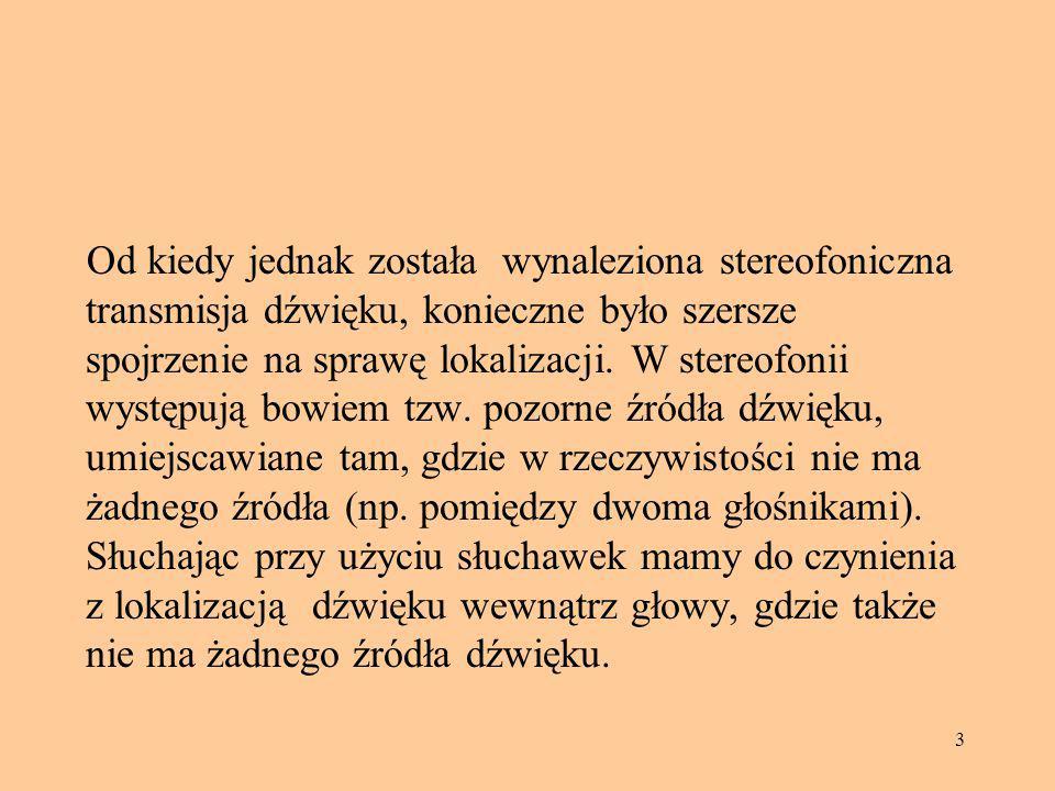 54 Bibliografia [1] Houtsma A.J.M.,Rossing T,D.,Wagenaars W.M., Auditory Demonstrations, IPO, Eindhoven 1987 [2] Jorasz U., Wykłady z psychoakustyki, Wydawnictwo Naukowe UAM, Poznań 1998 [3] Moore B.C.J., Wprowadzenie do psychologii słyszenia, Wydawnictwo Naukowe PWN, Warszawa- Poznań 1999 [4] Ozimek E., Dźwięk i jego percepcja, Wydawnictwo Naukowe PWN, Warszawa-Poznań 2002 [5] Plaskota P., Symulacja HRTF uwzględniająca akustyczne parametry głowy (praca doktorska), Instytut Telekomunikacji Teleinformatyki i Akustyki PWr, Raport seria PRE I 28/P-018/06, Wrocław 2006, ss.146