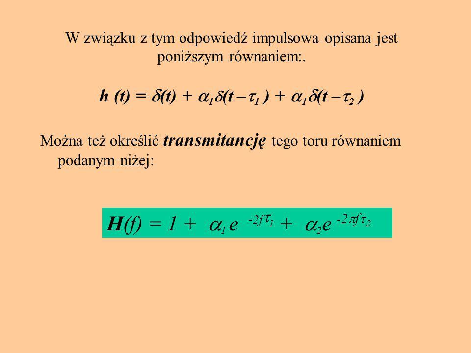 51 W związku z tym odpowiedź impulsowa opisana jest poniższym równaniem:. h (t) =  (t) +  1  (t –  1 ) +  1  (t –  2 ) Można też określić trans
