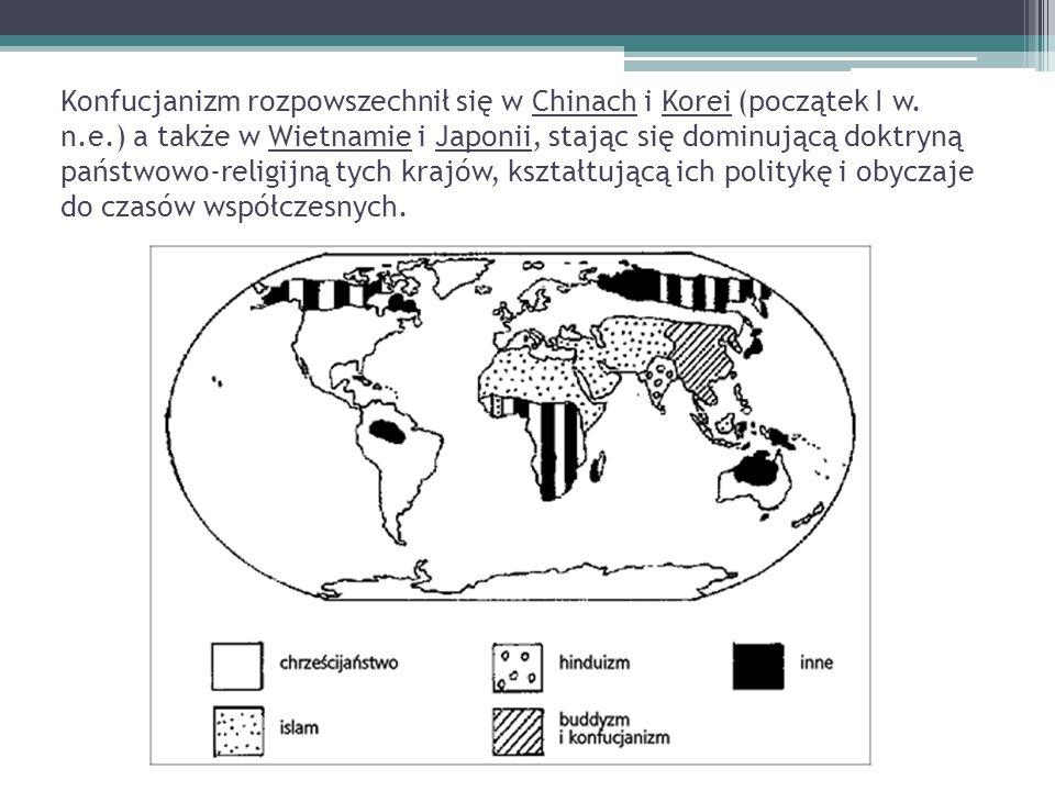 Konfucjanizm rozpowszechnił się w Chinach i Korei (początek I w. n.e.) a także w Wietnamie i Japonii, stając się dominującą doktryną państwowo-religij