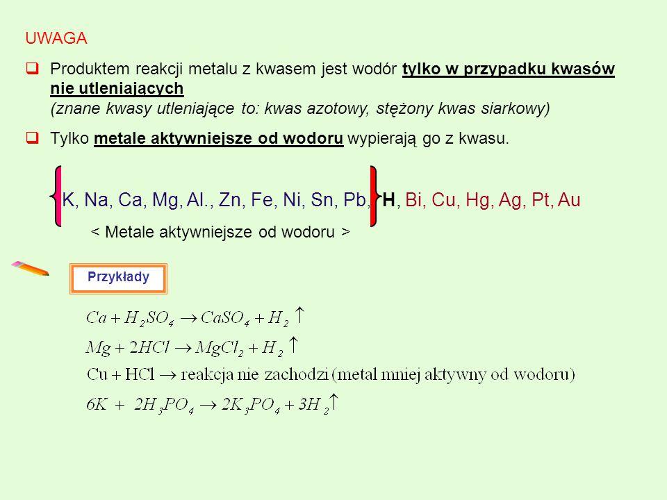 UWAGA  Produktem reakcji metalu z kwasem jest wodór tylko w przypadku kwasów nie utleniających (znane kwasy utleniające to: kwas azotowy, stężony kwa