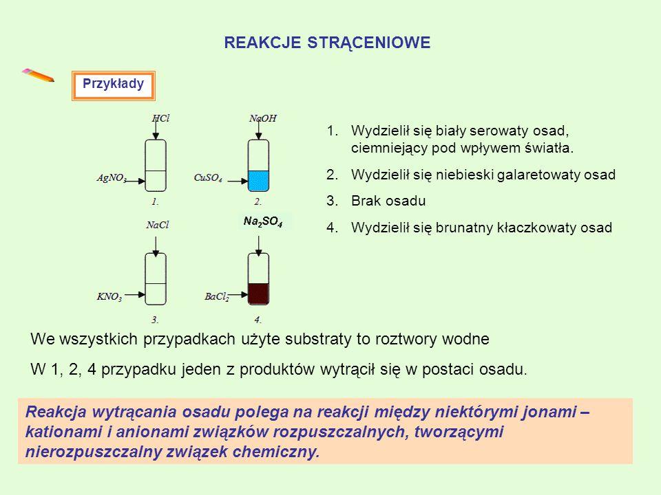 REAKCJE STRĄCENIOWE Reakcja wytrącania osadu polega na reakcji między niektórymi jonami – kationami i anionami związków rozpuszczalnych, tworzącymi ni