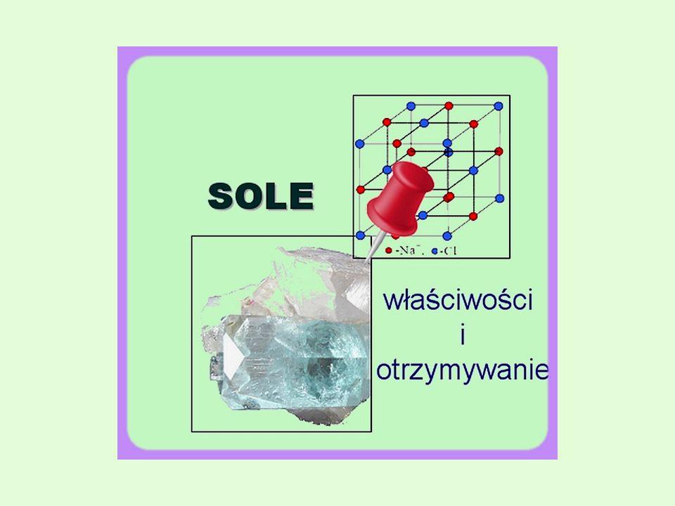 Spis treści  Reakcja zobojętniania  Definicja soli  Podział soli  Właściwości fizyczne soli  Tabela rozpuszczalności  Dysocjacja elektrolityczna soli  Sole jako produkt reakcji metalu z kwasem  Sole jako produkt reakcji tlenku metalu z kwasem  Sole jako produkt reakcji zasady z tlenkiem kwasowym  Reakcje strąceniowe  Ważniejsze metody otrzymywania soli  Wybrane sole  Bibliografia