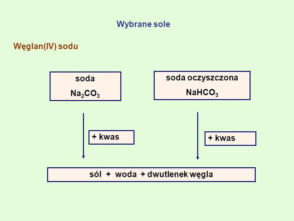 soda Na 2 CO 3 soda oczyszczona NaHCO 3 + kwas sól + woda + dwutlenek węgla + kwas Wybrane sole Węglan(IV) sodu