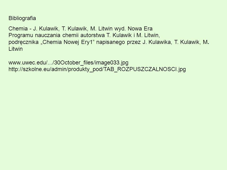 "Bibliografia Chemia - J. Kulawik, T. Kulawik, M. Litwin wyd. Nowa Era Programu nauczania chemii autorstwa T. Kulawik i M. Litwin, podręcznika ""Chemia"