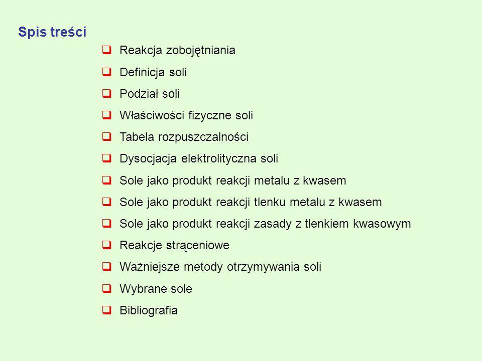 Spis treści  Reakcja zobojętniania  Definicja soli  Podział soli  Właściwości fizyczne soli  Tabela rozpuszczalności  Dysocjacja elektrolityczna