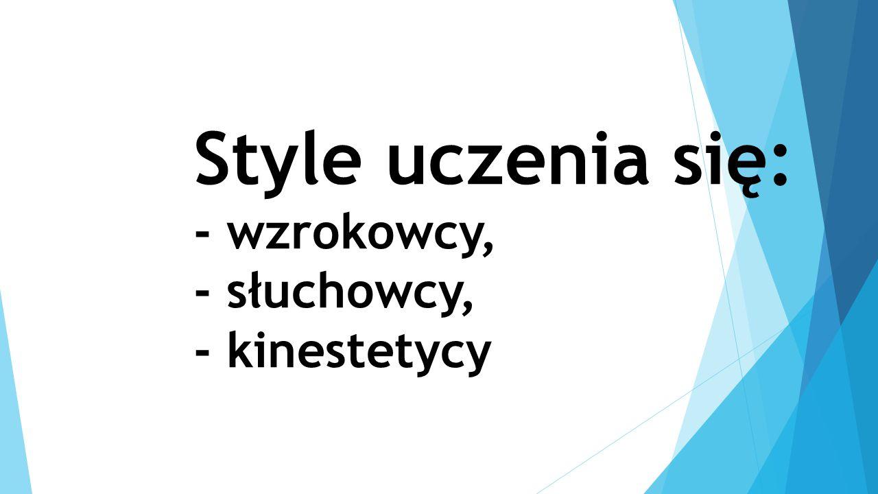 Style uczenia się: - wzrokowcy, - słuchowcy, - kinestetycy