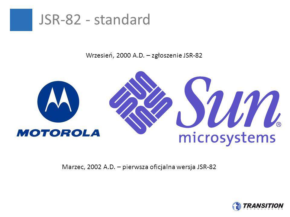 JSR-82 - standard Marzec, 2002 A.D. – pierwsza oficjalna wersja JSR-82 Wrzesień, 2000 A.D. – zgłoszenie JSR-82