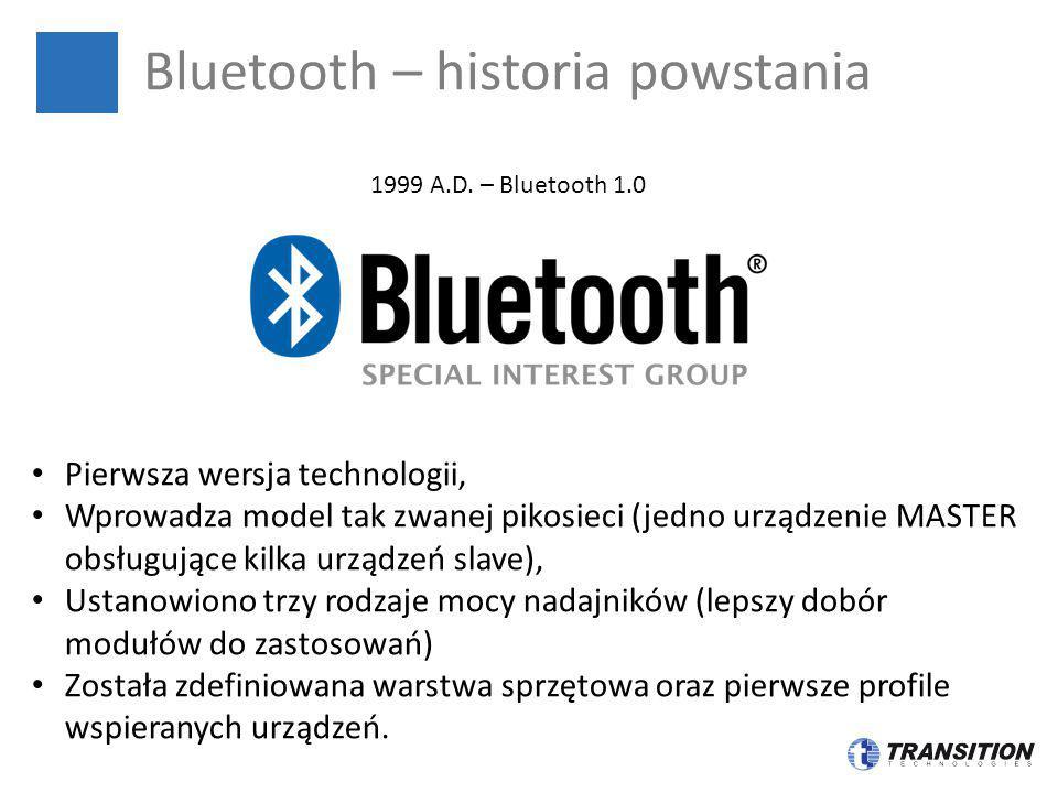 Bluetooth – historia powstania 1999 A.D. – Bluetooth 1.0 Pierwsza wersja technologii, Wprowadza model tak zwanej pikosieci (jedno urządzenie MASTER ob