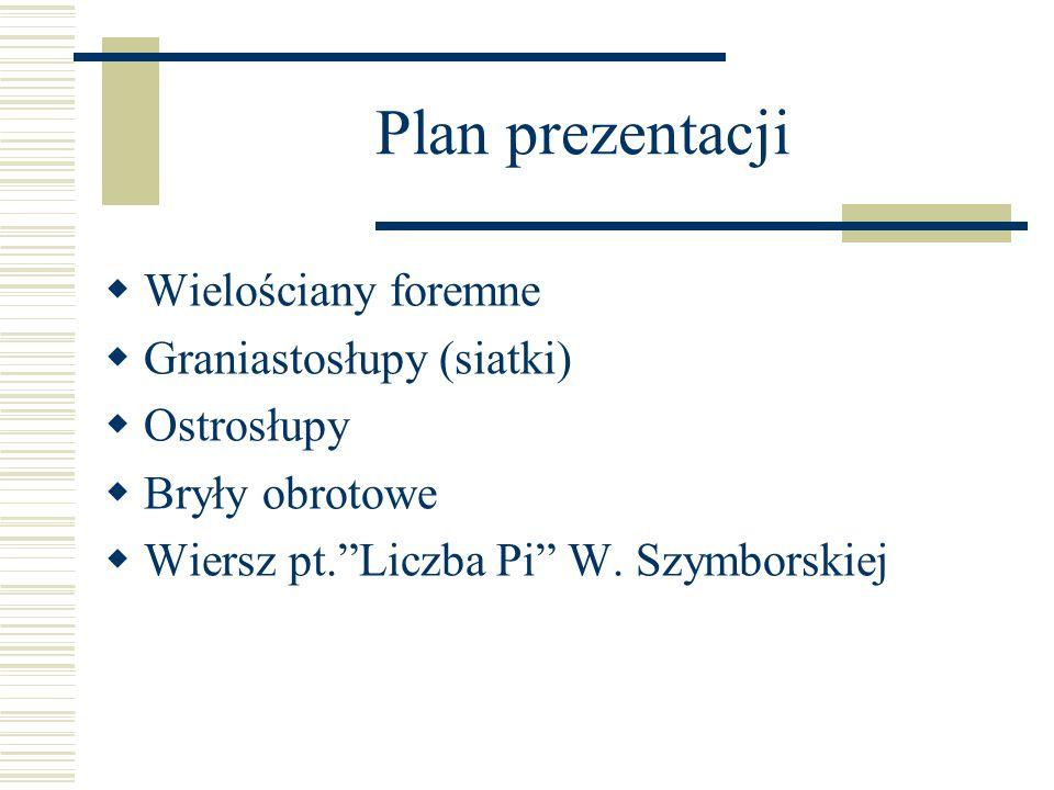 Plan prezentacji  Wielościany foremne  Graniastosłupy (siatki)  Ostrosłupy  Bryły obrotowe  Wiersz pt. Liczba Pi W.