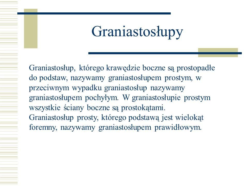 Graniastosłupy Graniastosłup, którego krawędzie boczne są prostopadłe do podstaw, nazywamy graniastosłupem prostym, w przeciwnym wypadku graniastosłup nazywamy graniastosłupem pochyłym.