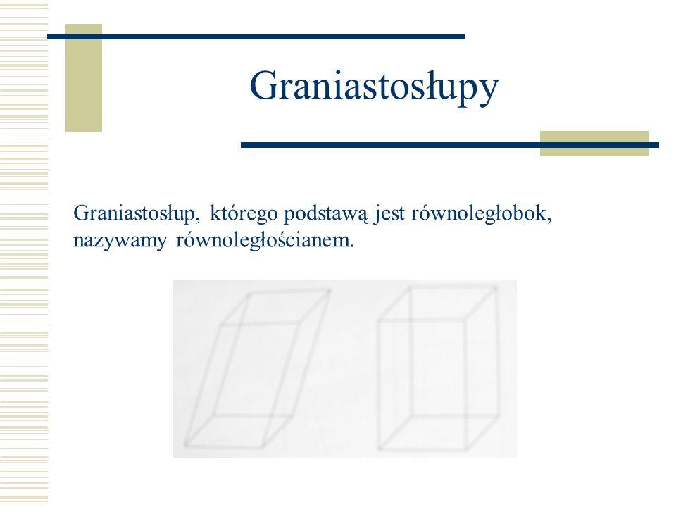 Graniastosłupy Graniastosłup, którego krawędzie boczne są prostopadłe do podstaw, nazywamy graniastosłupem prostym, w przeciwnym wypadku graniastosłup