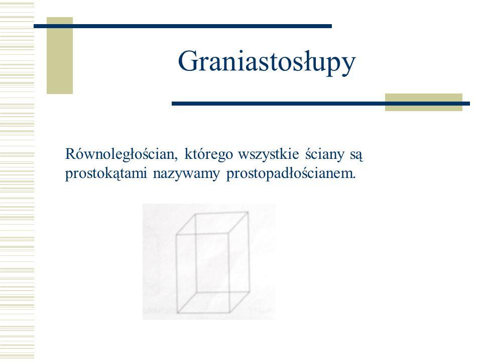 Graniastosłupy Równoległościan, którego wszystkie ściany są prostokątami nazywamy prostopadłościanem.
