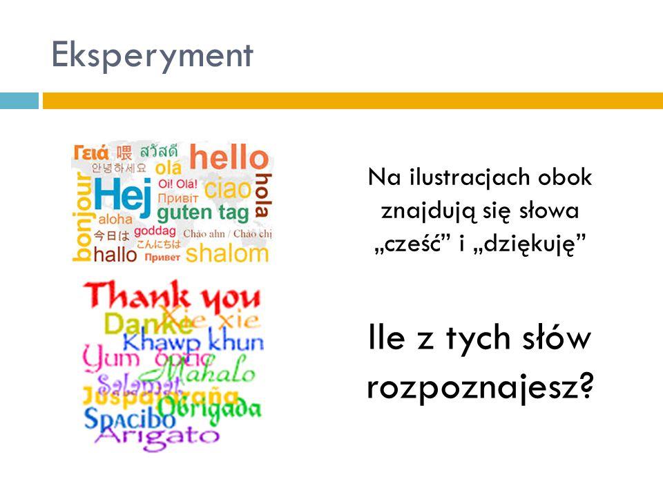 """Eksperyment Na ilustracjach obok znajdują się słowa """"cześć i """"dziękuję Ile z tych słów rozpoznajesz?"""