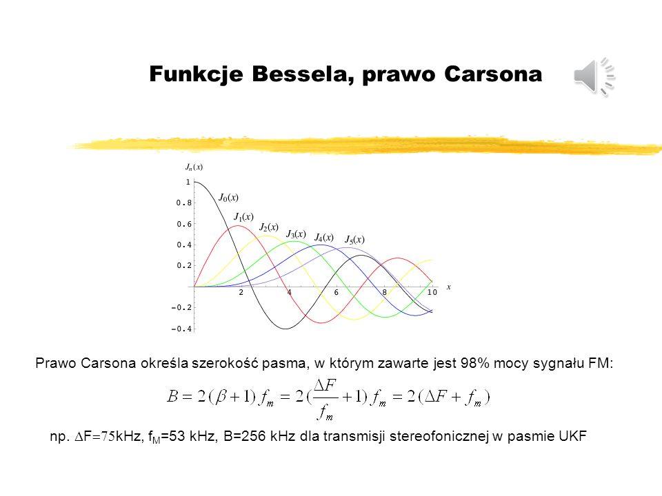 Widmo sygnału FM J i – funkcja Bessela maksymalna odchyłka częstotliwości (dewiacja częstotliwości): maksymalna odchyłka fazy (indeks modulacji): Dla