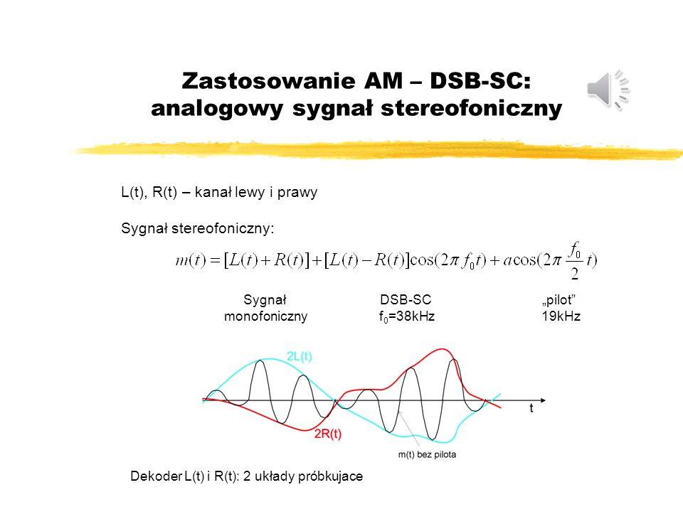 """Zastosowanie AM – DSB-SC: analogowy sygnał stereofoniczny L(t), R(t) – kanał lewy i prawy Sygnał stereofoniczny: Sygnał monofoniczny DSB-SC f 0 =38kHz """"pilot 19kHz Dekoder L(t) i R(t): 2 układy próbkujace"""