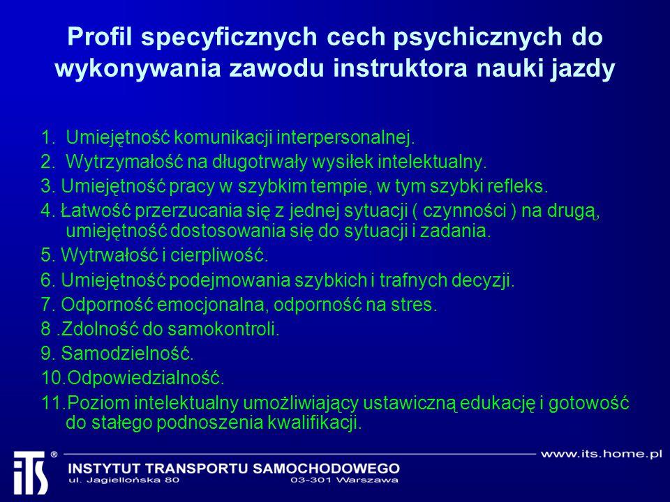 Profil specyficznych cech psychicznych do wykonywania zawodu instruktora nauki jazdy 1.Umiejętność komunikacji interpersonalnej. 2.Wytrzymałość na dłu