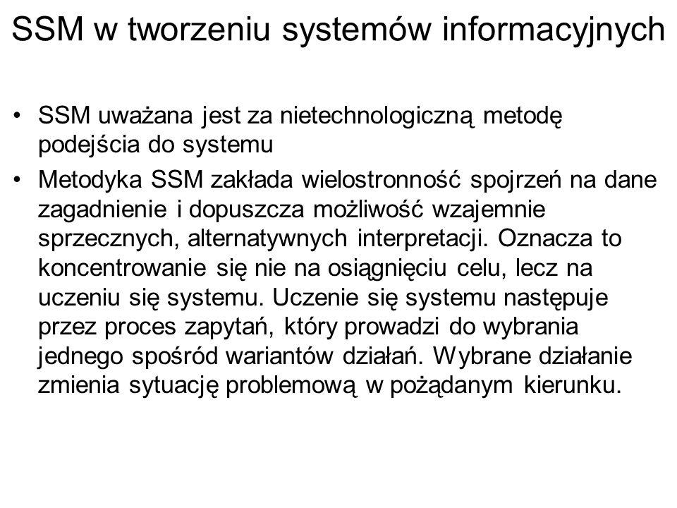 SSM w tworzeniu systemów informacyjnych SSM uważana jest za nietechnologiczną metodę podejścia do systemu Metodyka SSM zakłada wielostronność spojrzeń na dane zagadnienie i dopuszcza możliwość wzajemnie sprzecznych, alternatywnych interpretacji.