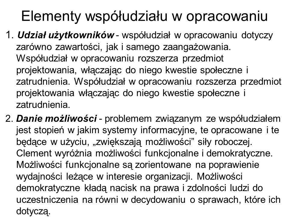 Elementy współudziału w opracowaniu 1.